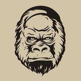 Grafischer Druck, das Schattenbild eines Gorillagesichtes Stockfoto
