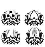 Grafischer Ikonen-Fußball-Basketball-Baseball-Fußball Stockfoto