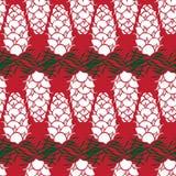 Grafischer Kiefern-Kegel, der nahtloses Muster zeichnet vektor abbildung