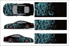 Grafischer Vektor des Autos, abstrakte laufende Form mit modernem Rennentwurf f?r Fahrzeug lizenzfreie abbildung