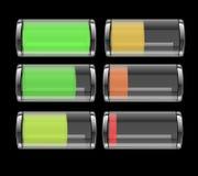 Transparente Batterie-Ikone Stockbild