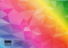 Grafischer Vektorhintergrund Regenbogenfarbder geometrischen dreieckigen Steigungsillustration Polygonales Design des Vektors für lizenzfreie abbildung