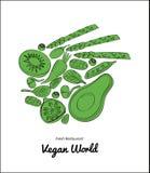 Grafisches Anschlaggemüse und runde Kunst der Frucht Organischer dekorativer Hintergrund des rohen Gemüsebauernhofes des strengen Stockbild
