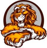 Grafisches Bild eines glücklichen netten Tiger-Maskottchens Stockbilder
