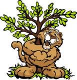 Grafisches Bild eines glücklichen Pumas, der einen Baum umarmt Stockbilder