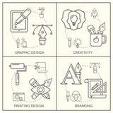 Grafisches desGraphic Designerberufmuster mit grauen linearen Ikonen Lizenzfreie Stockbilder