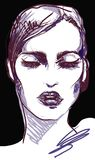 Grafisches Frauenporträt Vogue-Weinlese mit den schwarzen Lippen Stockbilder