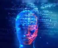 Grafisches Gesicht auf abstraktem Technologiehintergrund Lizenzfreies Stockfoto