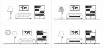 Grafisches Ikonenmuster des Wohnzimmers Lizenzfreie Stockfotografie