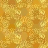 Grafisches nahtloses Muster der Danksagung mit Truthahn Stockfotografie