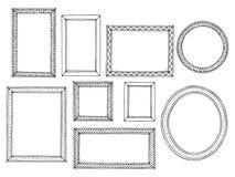 Grafisches schwarzes Weiß des Bilderrahmens lokalisierte gesetzten Illustrationsvektor der Skizze stock abbildung
