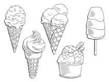 Grafisches schwarzes Weiß des Eisdesserts lokalisierte gesetzten Skizzenillustrationsvektor Lizenzfreies Stockbild