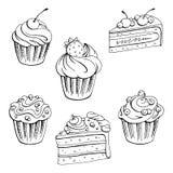 Grafisches schwarzes Weiß des Muffinnachtischs lokalisierte gesetzte Skizzenillustration Stockfotos