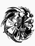 Grafisches Schwarzweiss-lineares der abstrakten Kunst Lizenzfreies Stockbild