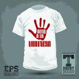 Grafisches T-Shirt Design - Alt ein La violencia - stoppen Sie Gewalttätigkeitsspanischtext Stockbild