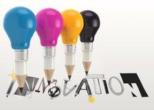 grafisches Wort INNOVATION und 3d zeichnen Glühlampe an Stockfotos