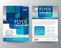 Grafisk bakgrund för abstrakt blåttrundafyrkant för broschyrräkning stock illustrationer