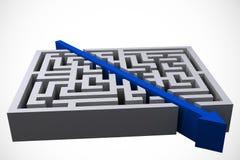 grafisk bitande raksträcka för pil till och med labyrint Royaltyfria Bilder