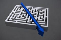 grafisk bitande raksträcka för pil till och med labyrint Fotografering för Bildbyråer