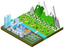 Grafisk byggnad, fastighet, hus och cityscapearkitektur stock illustrationer