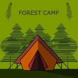 Grafisk campa illustration som göras i plan stil Stock Illustrationer