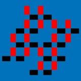 Grafisk design av kulöra röda och svarta fyrkanter Royaltyfri Fotografi