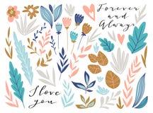 Grafisk design för blomma Vektoruppsättning av blom- beståndsdelar med hand drog blommor och att märka för förälskelse Gullig brö royaltyfri illustrationer