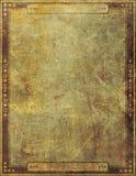 Grafisk design för forntida antik sida för Grungepappersram Fotografering för Bildbyråer