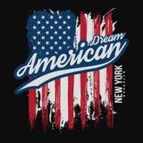 Grafisk design för T-tröja med amerikanska flaggan och grungetextur Design för New York typografiskjorta stock illustrationer