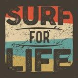 Grafisk design för tappningt-skjorta dräkt för att surfa företaget Retro bränningutslagsplatsdesign Bruk som rengöringsdukbanret, Arkivbild