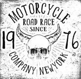 Grafisk design för motorcykelskalleutslagsplats Arkivfoto