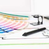 Grafisk design och printingbegrepp Fotografering för Bildbyråer