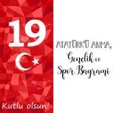 Grafisk design till den turkiska mayisAtaturk för ferie 19 `en u Anma, Genclik ve Spor Bayrami, översättning: 19 kan åminnelsen a Royaltyfri Foto