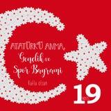 Grafisk design till den turkiska mayisAtaturk för ferie 19 `en u Anma, Genclik ve Spor Bayrami, översättning: 19 kan åminnelsen a Arkivbilder