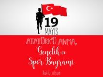 Grafisk design till den turkiska mayisAtaturk för ferie 19 `en u Anma, Genclik ve Spor Bayrami, översättning: 19 kan åminnelsen a Arkivbild