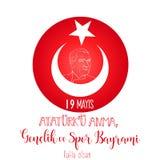 Grafisk design till den turkiska mayisAtaturk för ferie 19 `en u Anma, Genclik ve Spor Bayrami, översättning: 19 kan åminnelsen a Royaltyfri Fotografi