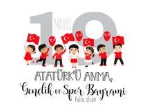 Grafisk design till den turkiska mayisAtaturk för ferie 19 `en u Anma, Genclik ve Spor Bayrami, översättning: 19 kan åminnelsen a Arkivfoto