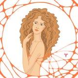 Grafisk flerfärgad illustration med kvinnan Royaltyfria Foton