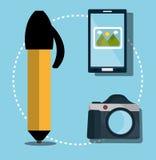 Grafisk formgivare för idérika idéer stock illustrationer