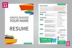Grafisk formgivare för meritförteckning vektor illustrationer