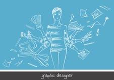 Grafisk formgivare för ung flicka vektor illustrationer