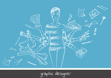 Grafisk formgivare för ung flicka Arkivbilder