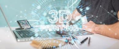 Grafisk formgivare som använder 3D som skrivar ut den digitala tolkningen för hologram 3D stock illustrationer