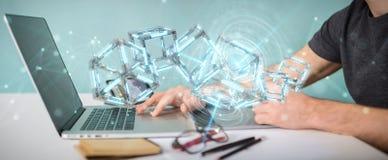 Grafisk formgivare som använder den digitala blåa Blockchain 3D tolkningen royaltyfri illustrationer