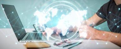 Grafisk formgivare som använder den digitala tolkningen för världskartamanöverenhet 3D royaltyfri illustrationer