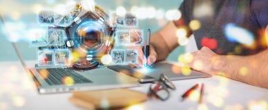 Grafisk formgivare som använder den futuristiska tolkningen för surrsäkerhetskamera 3D vektor illustrationer