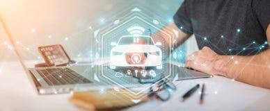 Grafisk formgivare som använder den moderna smarta tolkningen för bilmanöverenhet 3D vektor illustrationer