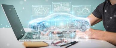 Grafisk formgivare som använder den moderna smarta tolkningen för bilmanöverenhet 3D royaltyfri illustrationer