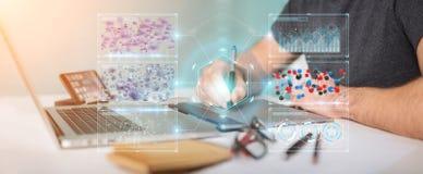 Grafisk formgivare som använder det moderna mikroskopet med digital analys 3 stock illustrationer