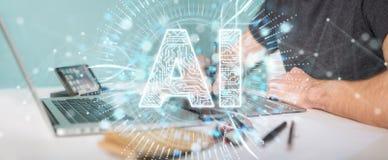 Grafisk formgivare som använder digital symbolsholo för konstgjord intelligens stock illustrationer
